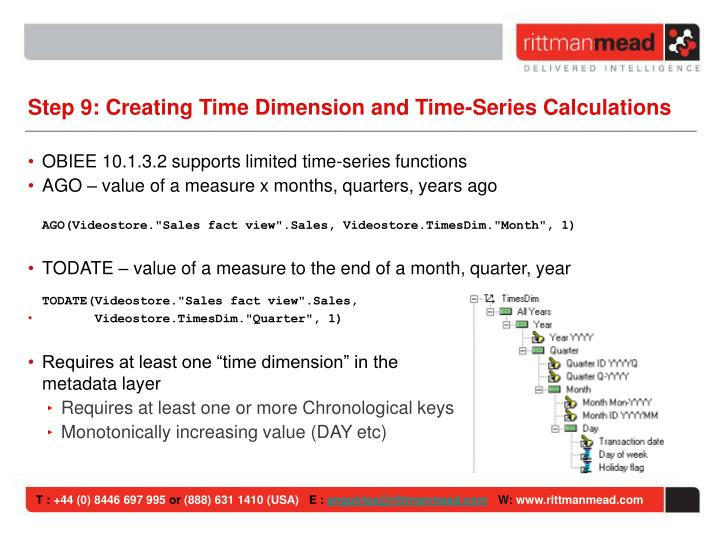 Step 9: Creating Time Dimension and Time-Series Calculations
