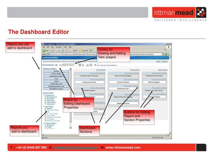 The Dashboard Editor