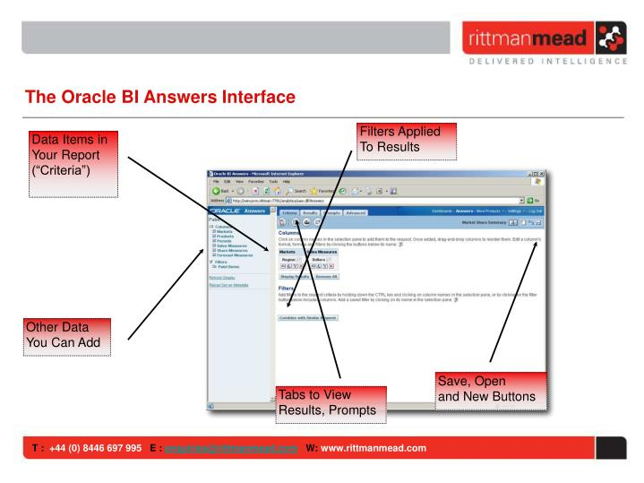 The Oracle BI Answers Interface