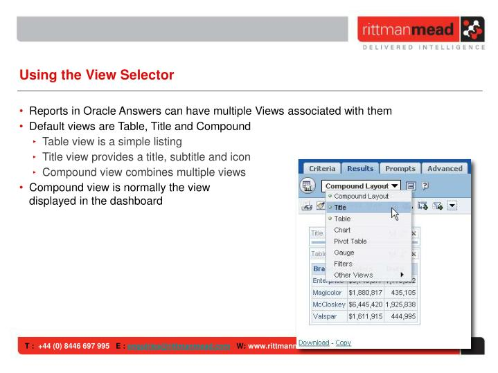 Using the View Selector
