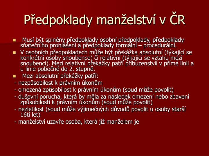 Předpoklady manželství v ČR