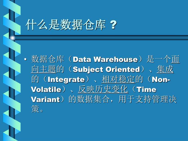 什么是数据仓库
