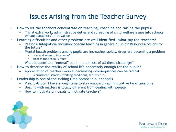 Issues Arising from the Teacher Survey