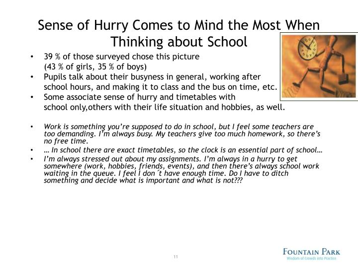 Sense of Hurry Comes to Mind the Most When Thinking about School