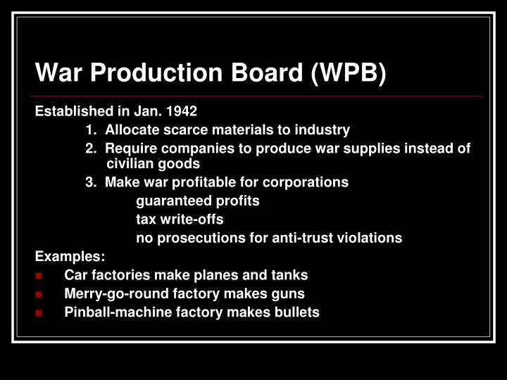 War Production Board (WPB)