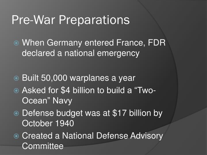 Pre-War Preparations