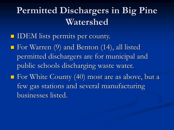 Permitted Dischargers in Big Pine Watershed