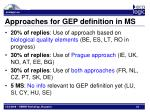 approaches for gep definition in ms