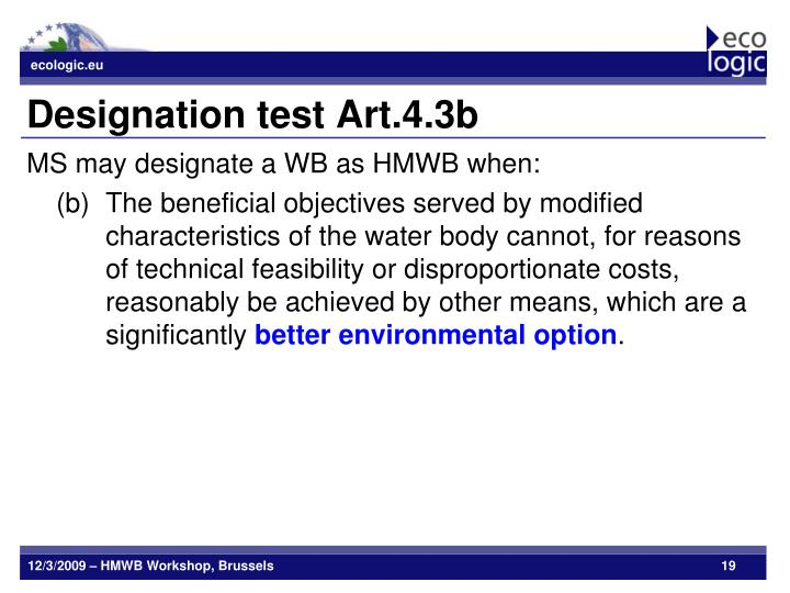 Designation test Art.4.3b