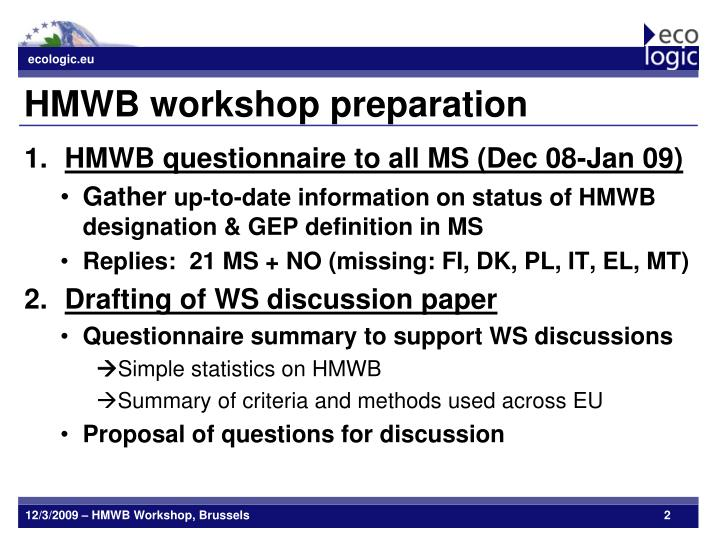 Hmwb workshop preparation