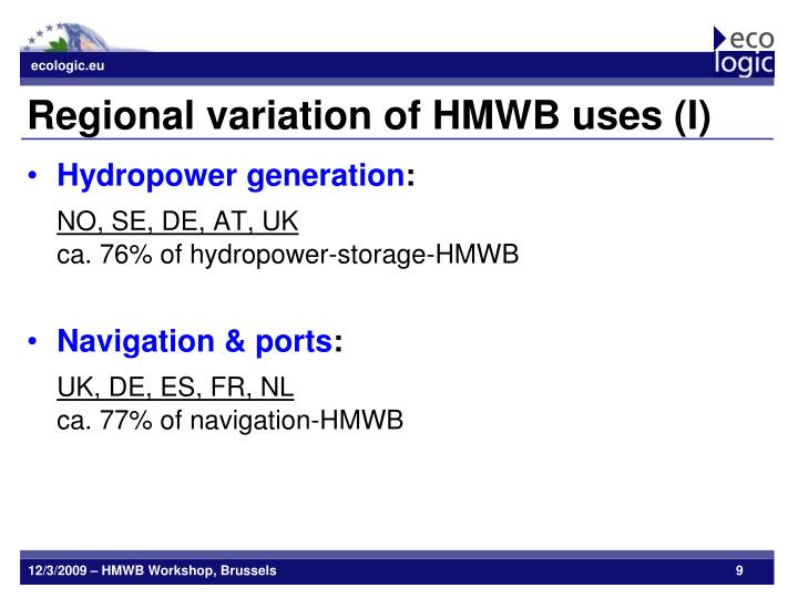 Regional variation of HMWB uses (I)
