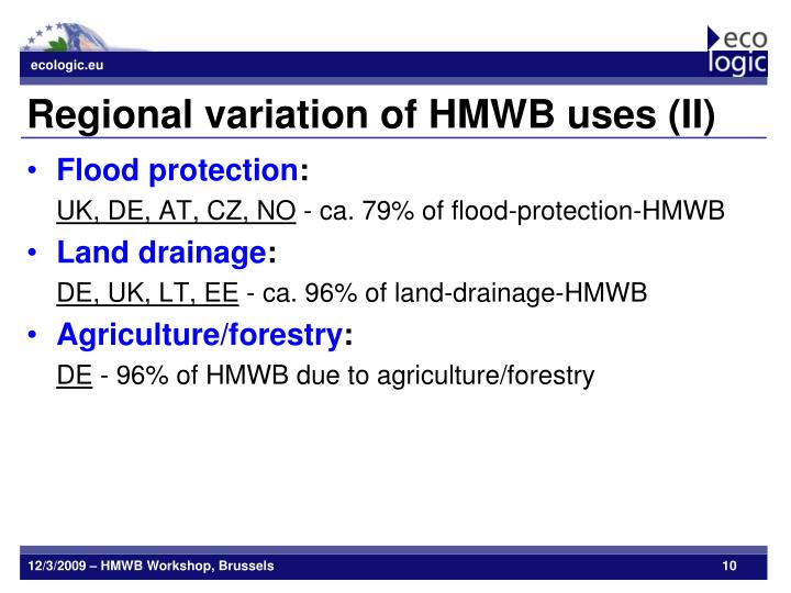 Regional variation of HMWB uses (II)