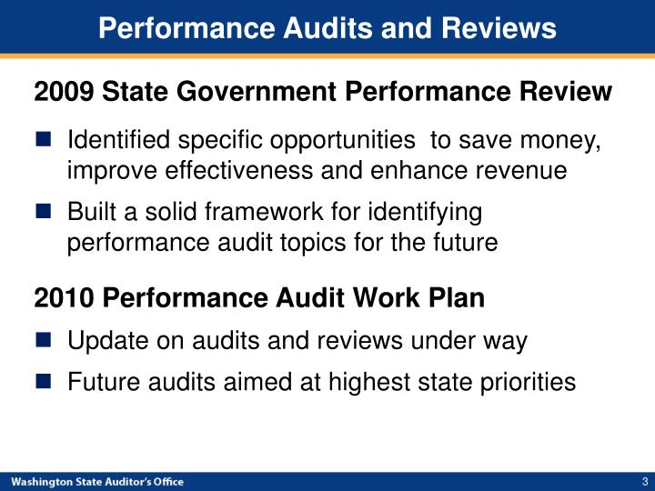Performance audits and reviews