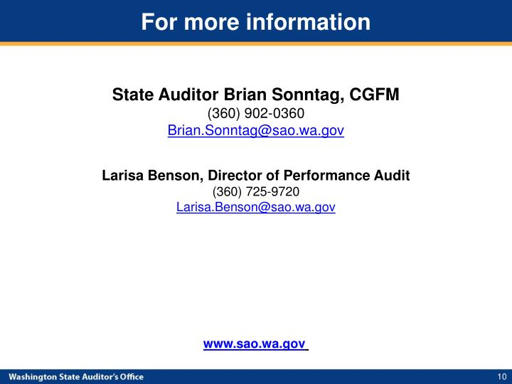 State Auditor Brian Sonntag, CGFM
