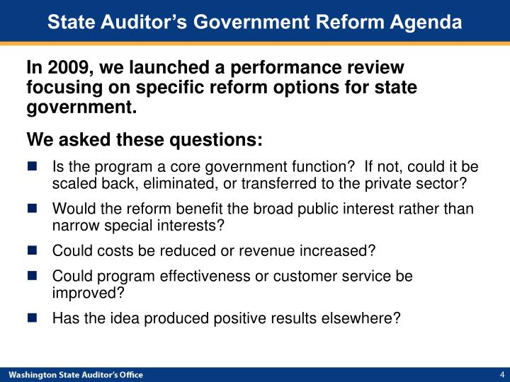 State Auditor's Government Reform Agenda
