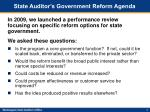 state auditor s government reform agenda