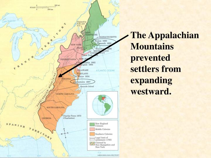 The Appalachian Mountains prevented settlers from expanding westward.