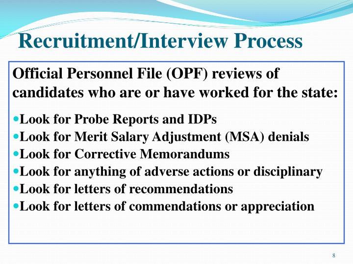 Recruitment/Interview Process