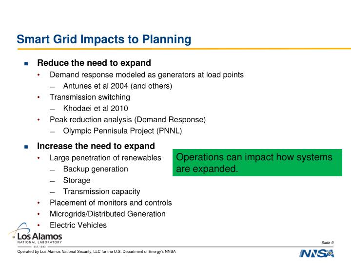 Smart Grid Impacts to Planning