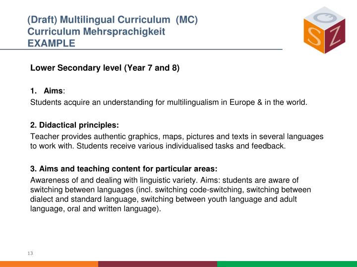 (Draft) Multilingual Curriculum  (MC)