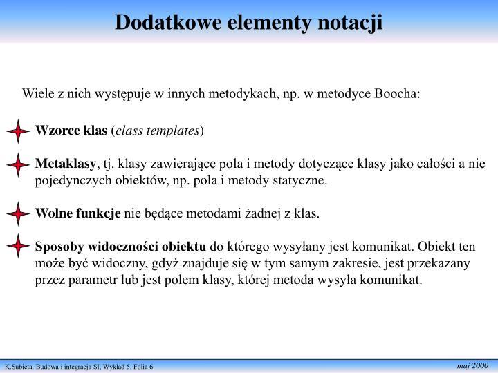 Dodatkowe elementy notacji