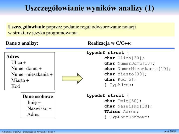 Uszczegółowianie wyników analizy (1)