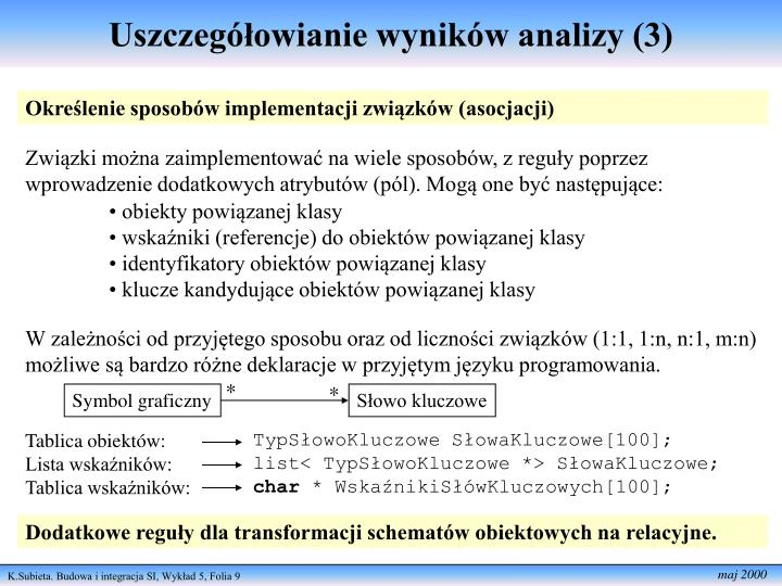 Uszczegółowianie wyników analizy (3)