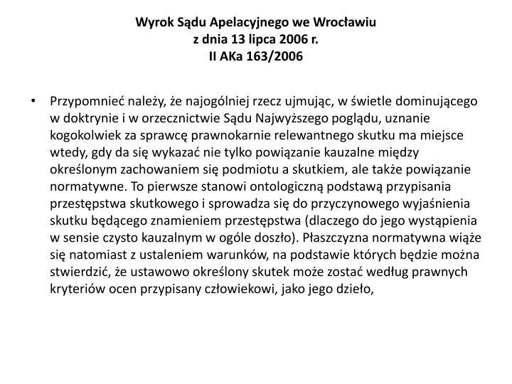 Wyrok Sdu Apelacyjnego we Wrocawiu
