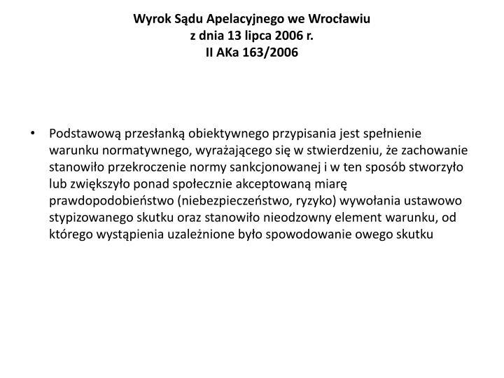 Wyrok Sądu Apelacyjnego we Wrocławiu