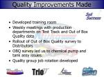 quality improvements made