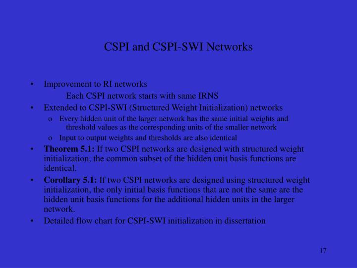CSPI and CSPI-SWI Networks