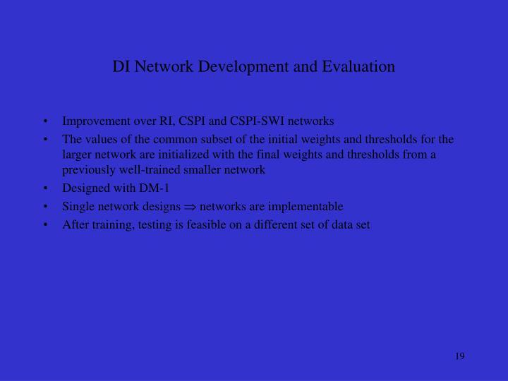 DI Network Development and Evaluation