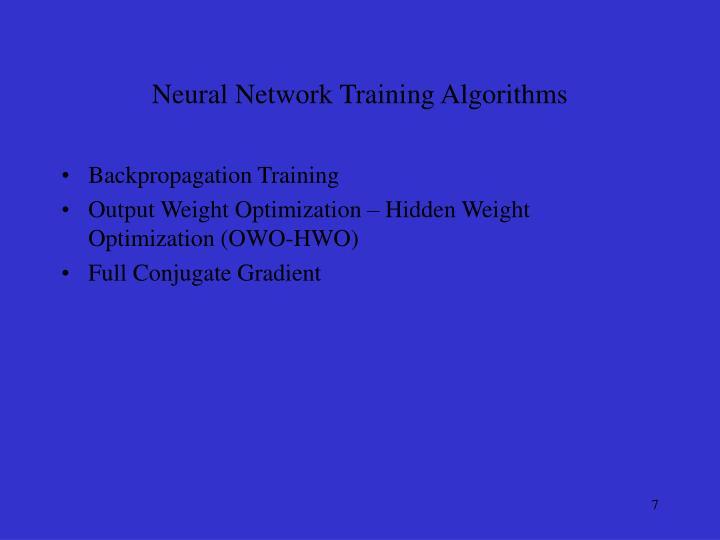 Neural Network Training Algorithms