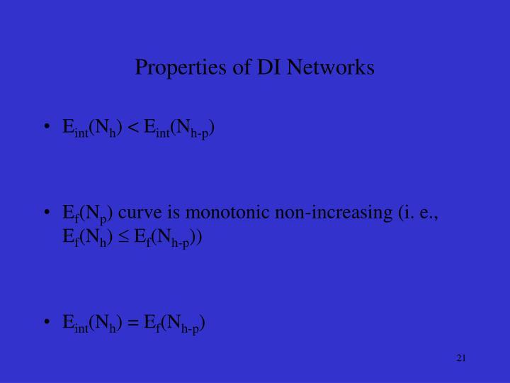 Properties of DI Networks