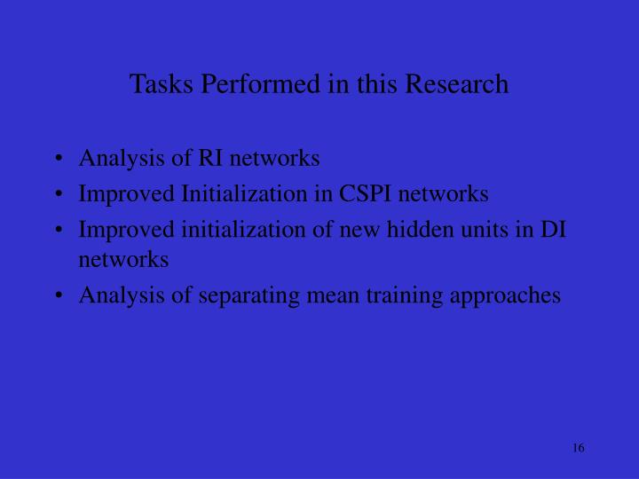 Tasks Performed in this Research