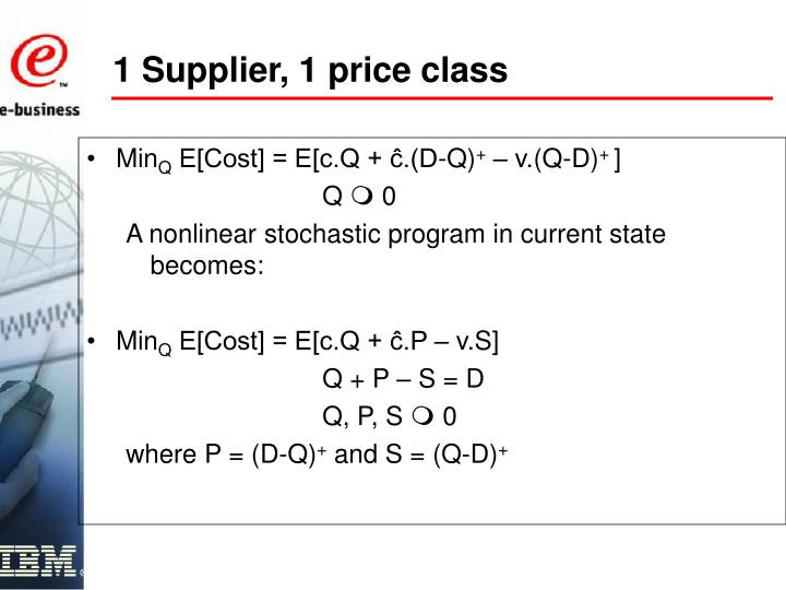 1 Supplier, 1 price class