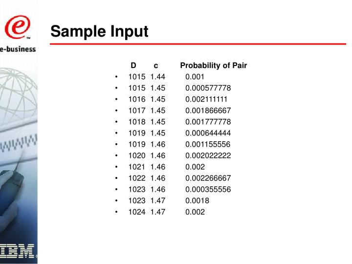 D        c          Probability of Pair