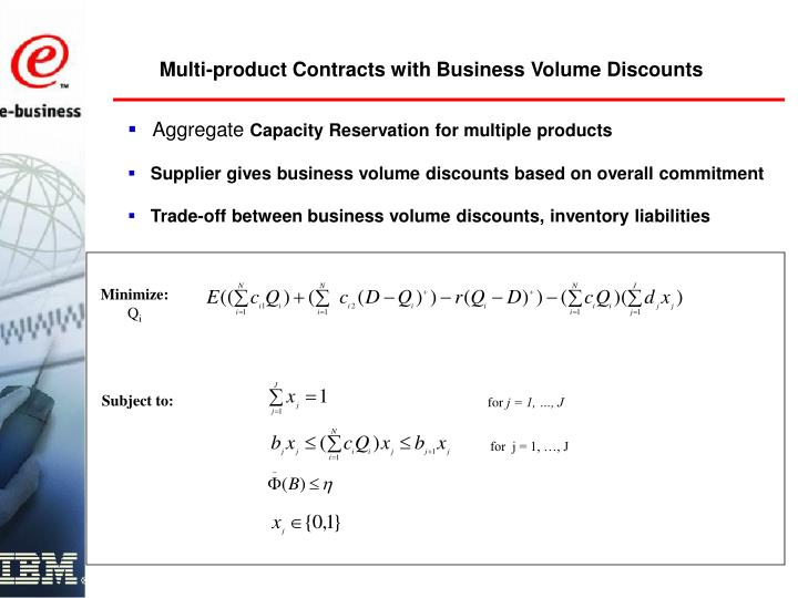 Multi-product Contracts with Business Volume Discounts