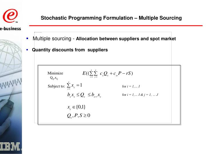 Stochastic Programming Formulation – Multiple Sourcing