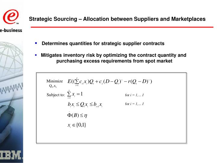 Strategic Sourcing – Allocation between Suppliers and Marketplaces