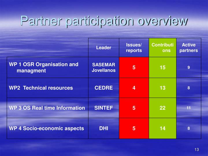 Partner participation overview