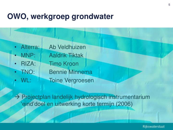 OWO, werkgroep grondwater