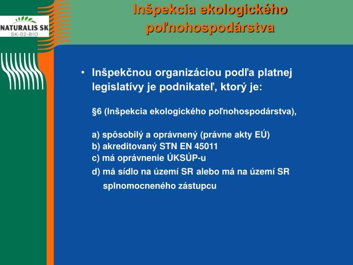 Inšpekcia ekologického poľnohospodárstva