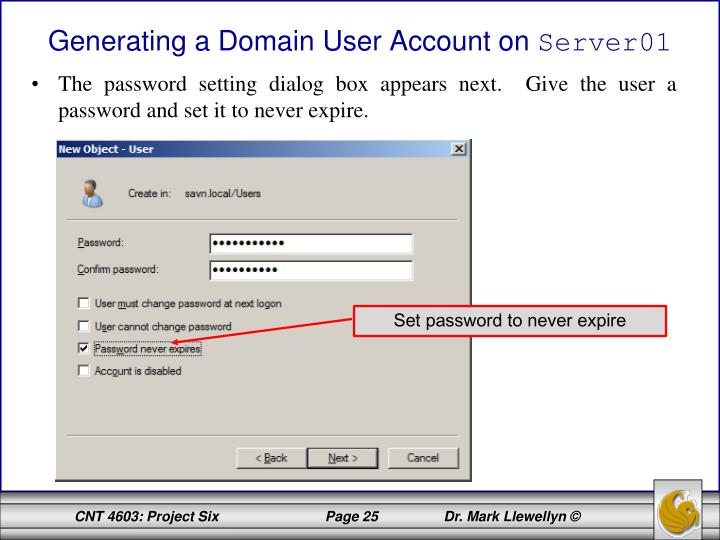 Generating a Domain User Account on