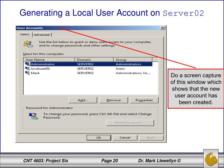 Generating a Local User Account on