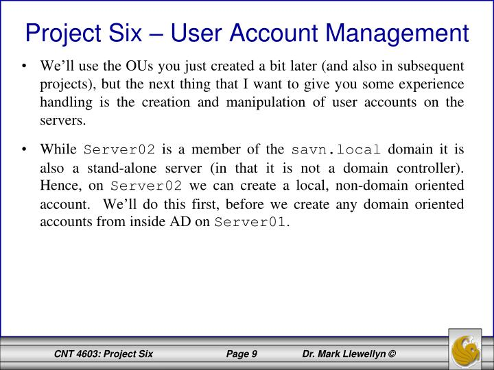 Project Six – User Account Management