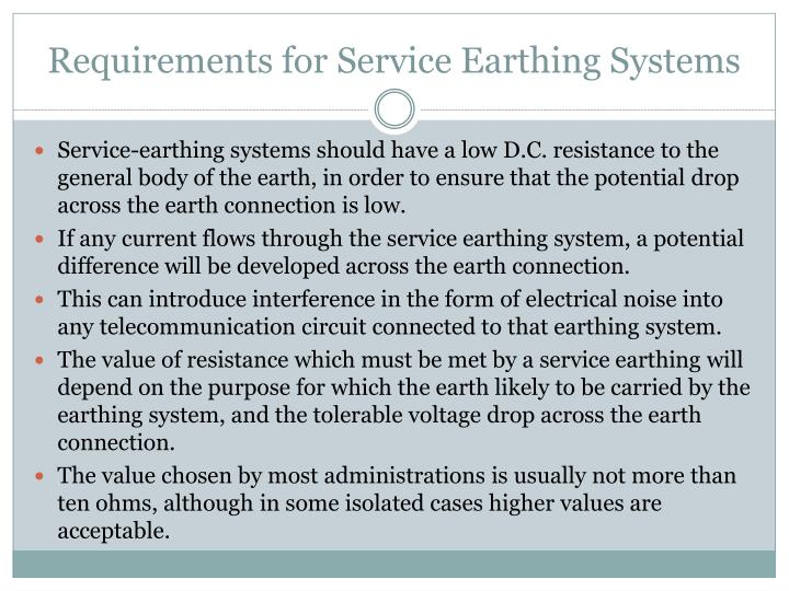 Requirements for Service Earthing Systems