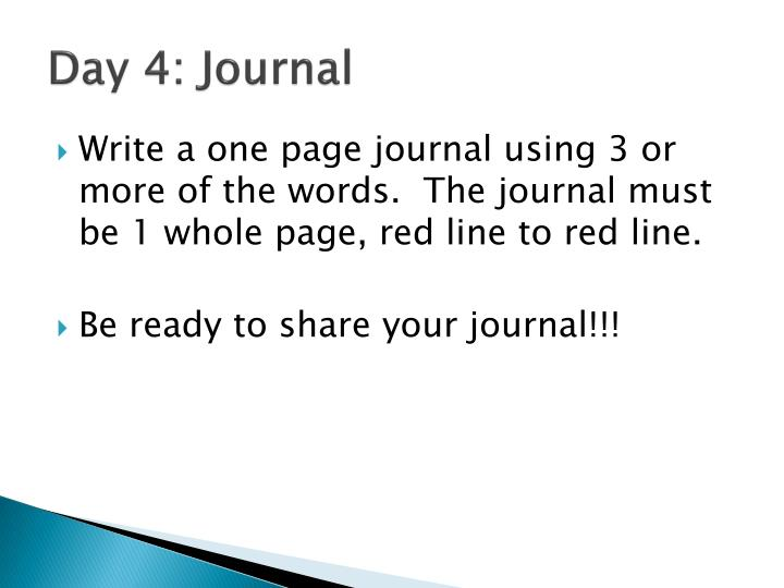 Day 4: Journal