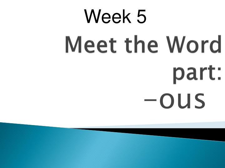 meet the word part