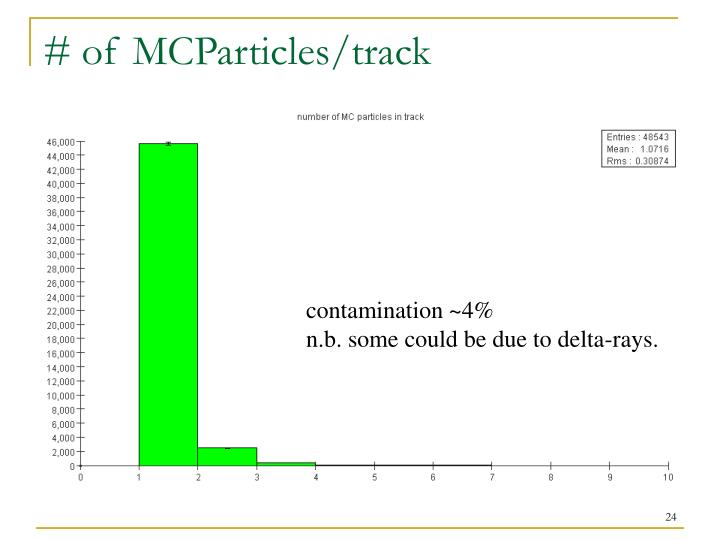 # of MCParticles/track